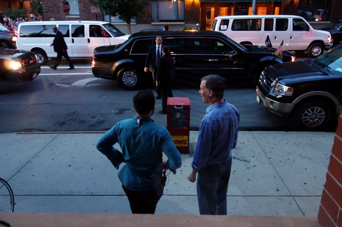 after potus got in the car, hickenlooper (right) hung back. i later asked him to join us for a beer, like that one time in salt lake city, but he had to go to two more events.