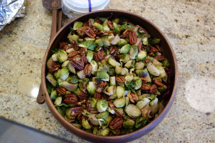 audrey brought her specialty from her texas momma's recipe — brussel sprout salad.