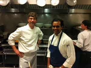 chef chris hastings and sous chef sadesh in the kitchen of greenville, sc's devereaux's restaurant.