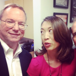 we did not have a selfie stick for this. this is just eric schmidt's pure talent.