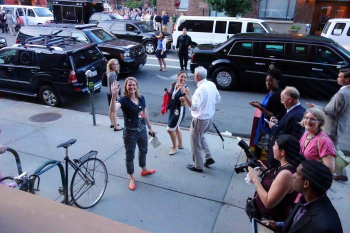 best part of this whole random denver incident was running into my journalist pals in the traveling press corps. there's old friend colleen nelson waving at me after the pool had to leave but regular bar patrons could stay inside.